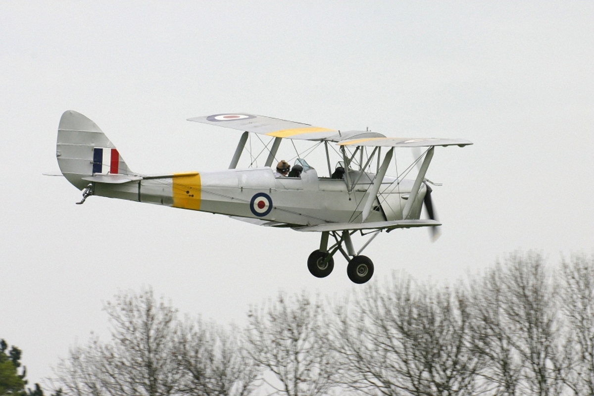 An old 1940s tiger moth biplane.